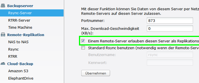 Quell Server Einstellungen